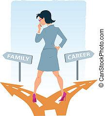 carreira, escolher, família, entre