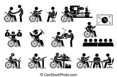 carreira, icons., sucedido, bom, trabalho, pessoa, tendo, vara, incapacitado, figuras