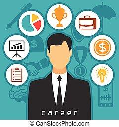 carreira, negócio, e, finanças, conceito, de, apartamento, ícones