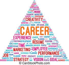 carreira, piramide, palavra, nuvem
