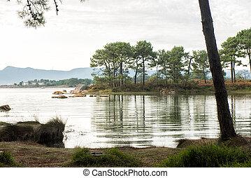 Carreiron natural park in Arousa Island, Galicia, Spain