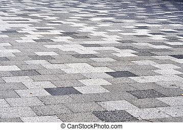 carrelé, mosaïque, béton, trottoir