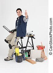 carreleur, équipement, ordinateur portable, sien, tenu