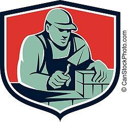 carreleur, bouclier, ouvrier, maçon, retro, brique, plâtrier