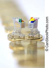 carrelli, co, shopping, euro, miniatura