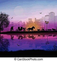 carrello, amanti, tramonto