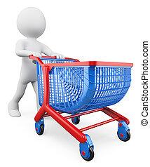 carrello, bianco, shopping, persone., 3d