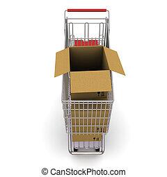 carrello, box., interpretazione, fondo, bianco, cartone, aperto, 3d