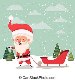 carrello, claus, snowscape, santa