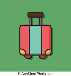 carrello, colorare, linea, valigia, icona