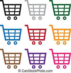 carrello, colori, shopping