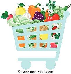 carrello, con, fresco, e, naturale, cibo, concetto, verdura, negozio, organico, sano, comprare, vitamin., vettore, illustrazione