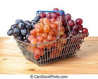 carrello, con, ramoscelli, di, uva, è, isolato, bianco, fondo