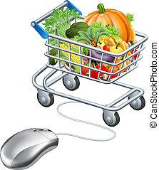 carrello, drogheria, concetto, topo, verdura