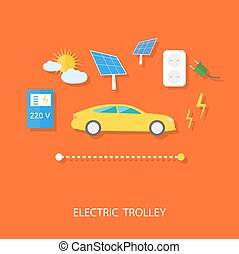 carrello, eco, energia, concetto, elettrico