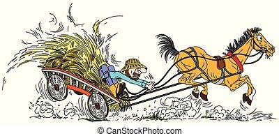 carrello, fieno, contadino