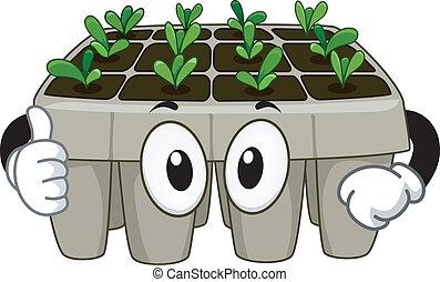 carrello giovane pianta, mascotte