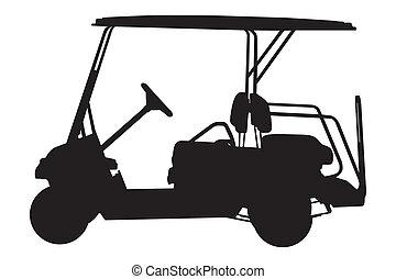 carrello, golf, illustrazione, vettore
