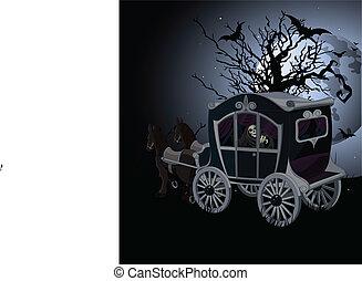 carrello, halloween, fondo