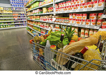 carrello, in, uno, supermercato