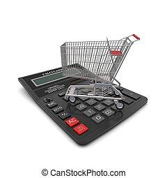 carrello, interpretazione, acquirente, calculator., 3d