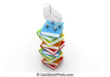 carrello, libri, colorito, pila