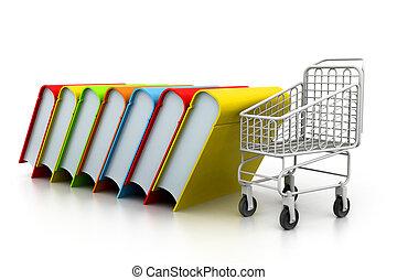 carrello, libri, pila