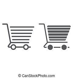 carrello, linea, e, glyph, icona, commercio, e, negozio, cibo, vendita dettaglio, segno, vettore, grafica, uno, lineare, modello, su, uno, sfondo bianco, eps, 10.