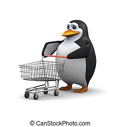 carrello, pinguino, shopping, 3d