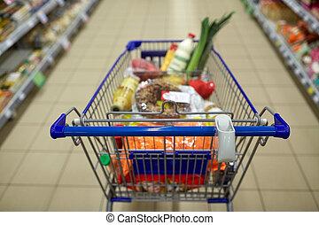 carrello, shopping, cibo, supermercato, carrello, o