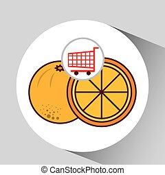 carrello, shopping, frutta, arancia, icona, grafico