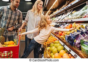 carrello, shopping, supermercato, famiglia