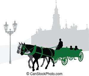 carrello, silhouette, touri
