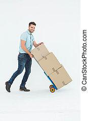 carrello, spinta, consegna, scatole, felice, uomo