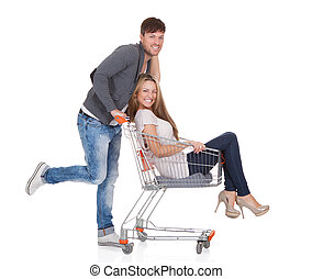 carrello, suo, shopping, uomo, moglie