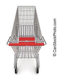carrello, supermarket., interpretazione, fondo, bianco, 3d