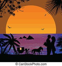 carrello, tramonto, amanti
