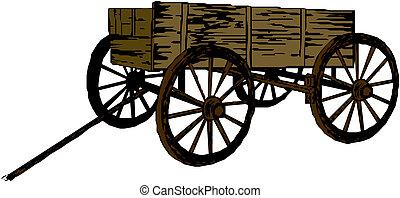 carrello, vendemmia, legno