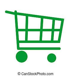 carrello, verde, shopping
