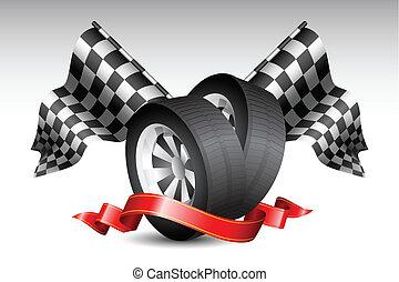 carrera, banderas, con, neumático