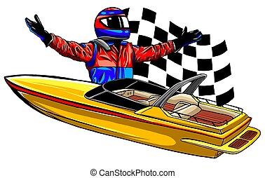 carrera, barco, arte, vector, diseño, ilustración, motor