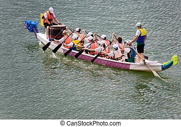 carrera, barco, dragón