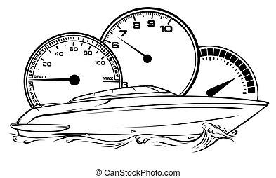 carrera, barco, motor, arte, diseño, vector, ilustración