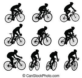 carrera, bicyclists, siluetas