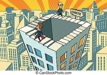 carrera, ciudad, escalera, interminable