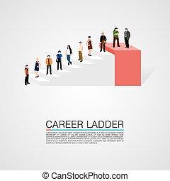 carrera, conceptual, escalera, gente