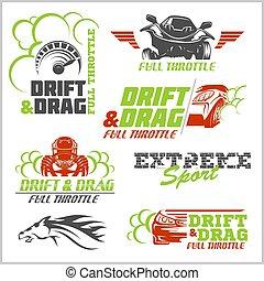 carrera, conjunto, coche, emblemas, vector, insignias, carreras, campeonato