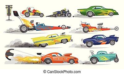 carrera, conjunto, conducción, pista, automóvil, grandprix, bolide, aislado, ilustración, pista, speedcar, obstáculo, vector, plano de fondo, fórmula, reunión, blanco, deporte, carreras, acontecimiento, coche