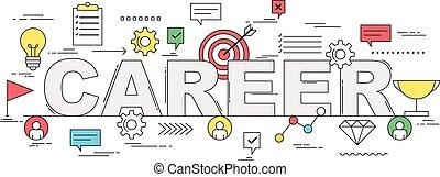 carrera, crecimiento, concepto, línea, estilo, ilustración