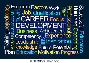 carrera, desarrollo, palabra, nube